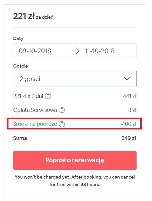 airbnb zniżka na start 100 zł
